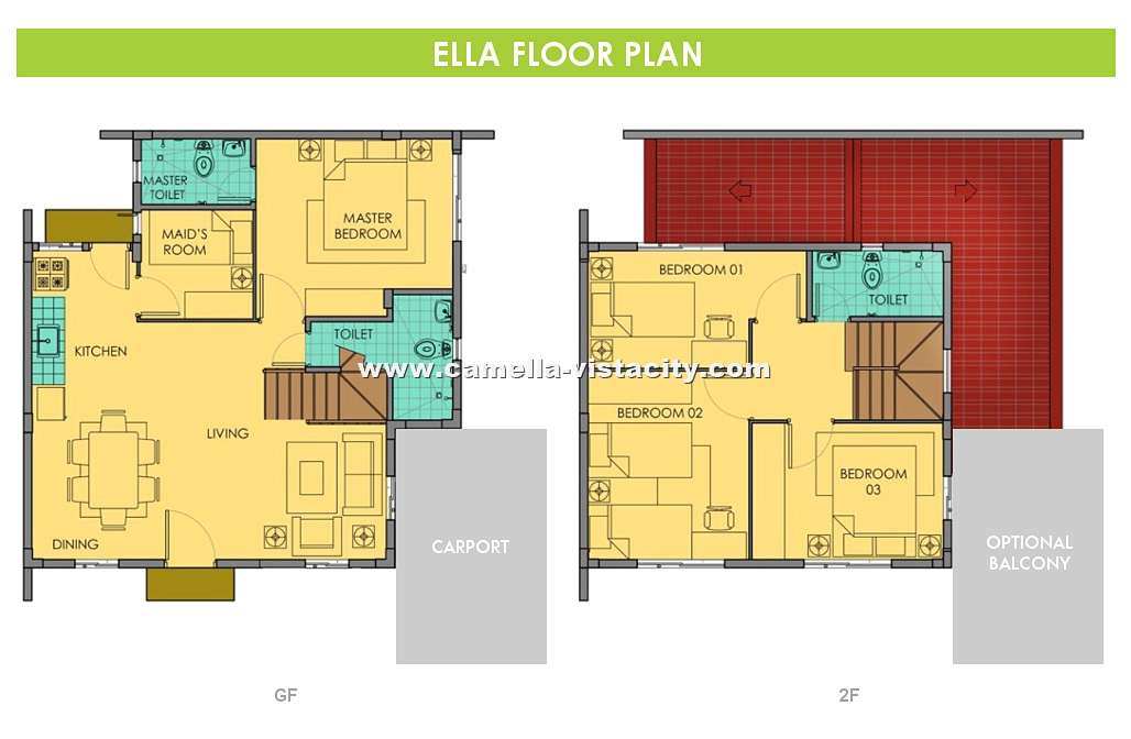 Camella vista city ella house and lot for sale in vista city for City lot house plans
